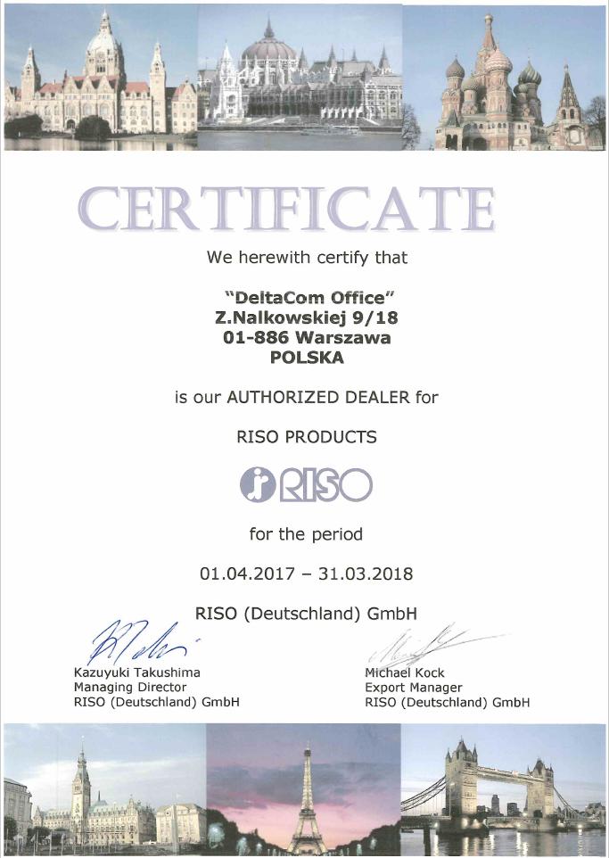 Deltacom Certyfikat RISO 2017