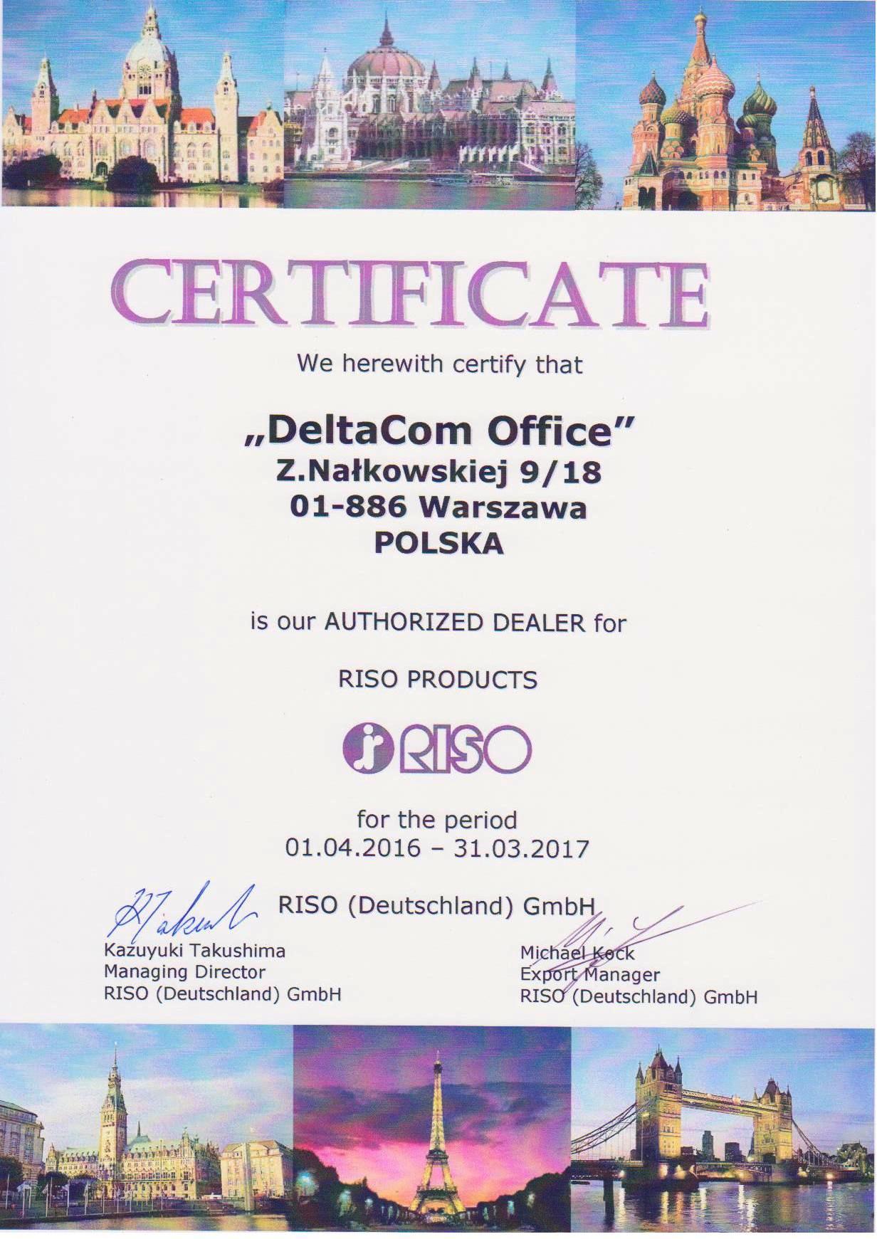 Autoryzowany sprzedawca - certyfikat Riso