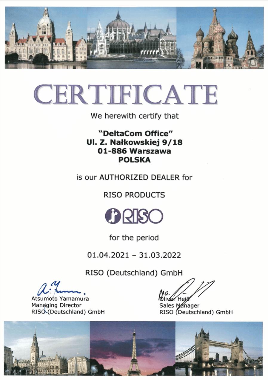Deltacom Office oficjalny dystrybutor RISO - certyfikat